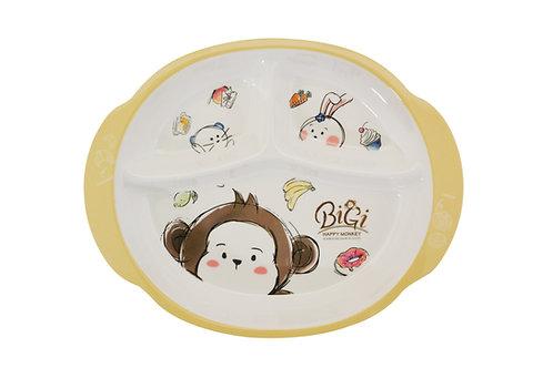 "#807735 MLM MONKEY 3 DIVIDED PLATE-9.1"" 兒童三格餐盤-猴子"
