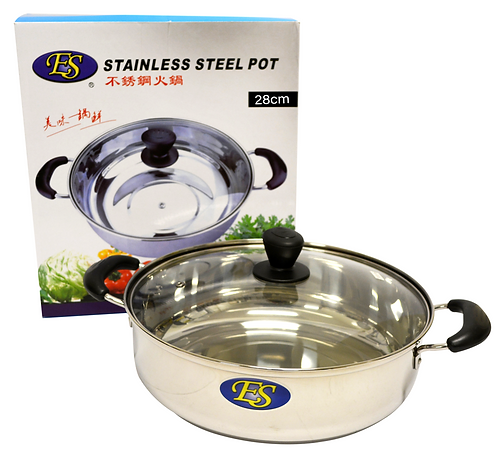 #800191 STAINLESS STEEL HOT POT WITH GLASS LID-28 CM 不銹鋼火鍋(1 PCS)