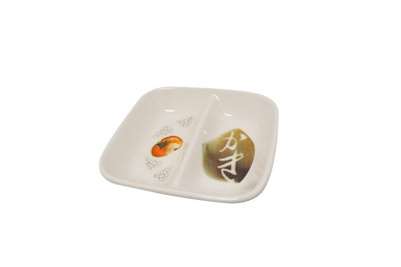 MELAMINE RED TOMATO SQUARE SAUCEDISH,ITEM#00807842,美耐皿紅番茄雙格醬料碟 (6 PCS)