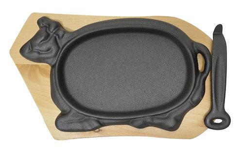 #800390 COW CAST IRON SIZZLE PLATTER SETS 牛排鑄鐵烤盤組