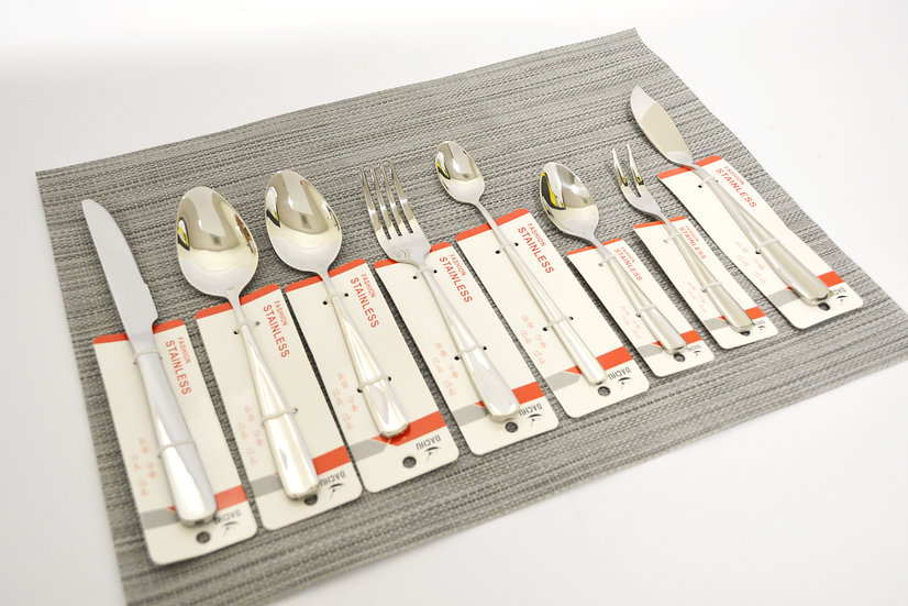 DACHU STAINLESS STEEL FLATWARE COLLECTION, 8 STYLE, 2 EACH, TOTAL 16 PCS