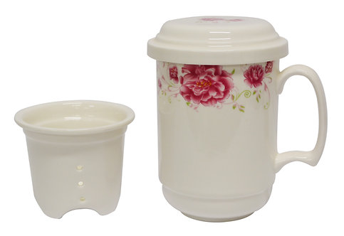 #802545 TEA CUP WITH FILTER-RED FLOWER 紅花茶杯含濾心(1 SET)