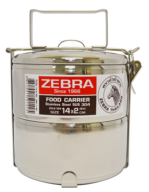 #800550 ZEBRA STAINLESS STEEL FOOD CARRIER-14 CM  X 2 LAYERS    雙層不銹鋼便當盒