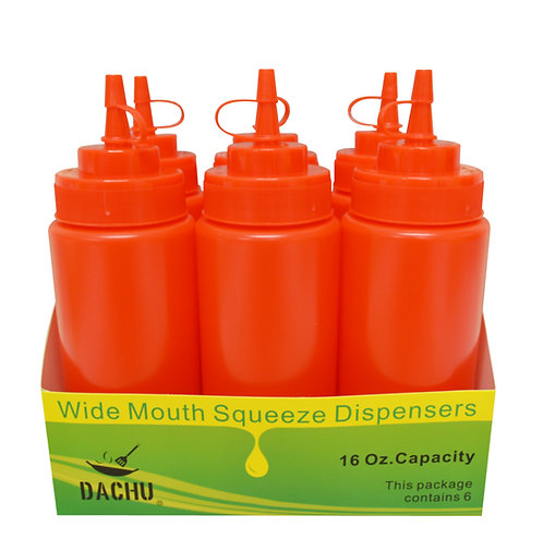 #803043 SAUCE SQUEEZER-16 OZ-6PCS-RED 醬料罐-紅色