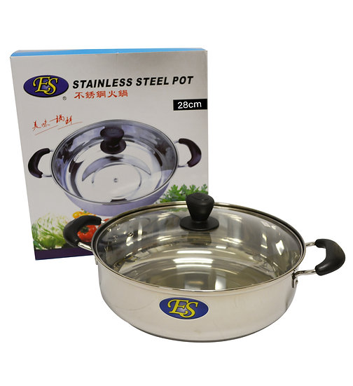 28 CM  STAINLESS STEEL HOT POT WITH GLASS LID, ITEM#00800191, 不銹鋼火鍋(1 PCS)