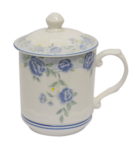 "#802344 TEA CUP-BLUE PEONY-3.4"" 藍牡丹茶杯帶蓋(1 SET)"