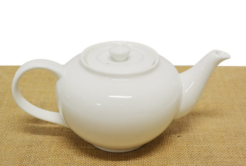 "#802840 TEA POT-WHITE-9"" 白瓷茶壺-強化瓷(1 SET)"