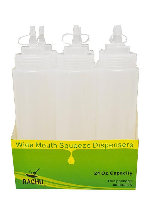 #803047 SAUCE SQUEEZER-24 OZ-6 PCS-WHITE 醬料罐-白色
