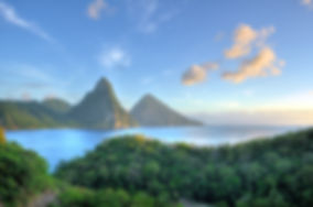 Panorama of Pitons at Saint Lucia, Carib