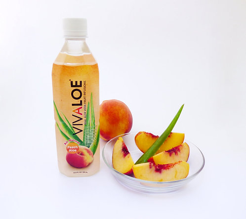 Vivaloe Peach Aloe Beverage, 500ml (16.9oz) PET Plastic Bottle