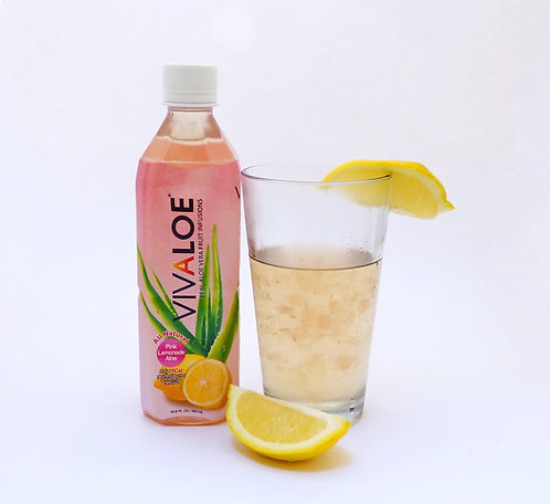 Vivaloe Pink Lemonade Aloe Beverage, 500ml (16.9oz) PET Plastic Bottle