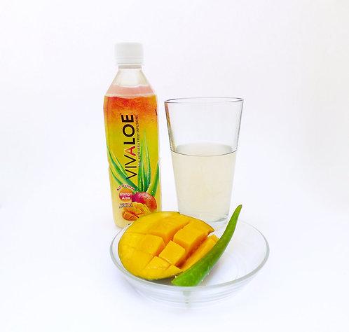 Vivaloe Mango Aloe Beverage, 500ml (16.9oz) PET Plastic Bottle