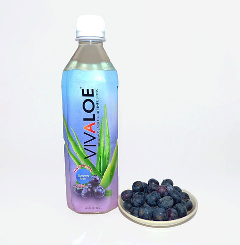 Vivaloe Blueberry Aloe Beverage,  500ml (16.9oz) PET Plastic Bottle