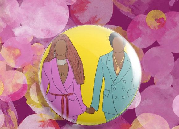 Mr & Mrs | badge | mirror | magnet