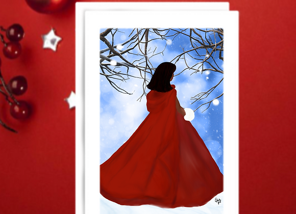 Lady in red   Christmas   holiday season   Greetings card