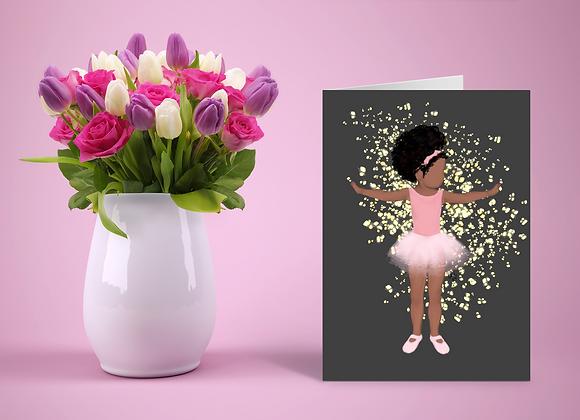 Baby brown ballerina | Greetings card