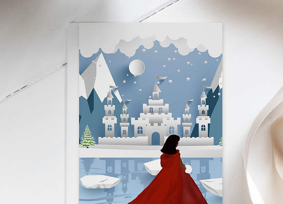 Lady in red   Greetings card