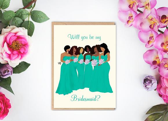 Bridal party - Green | Greetings card