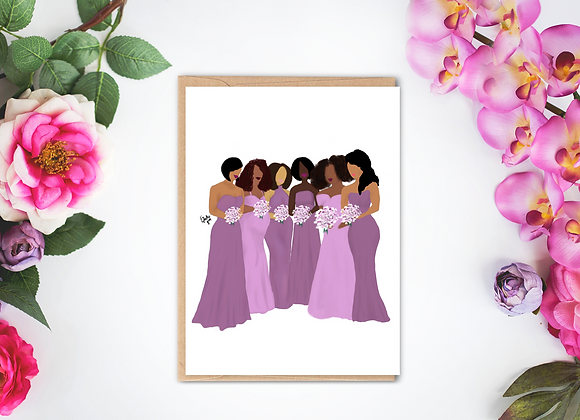 Bridal party - purple | Greetings card