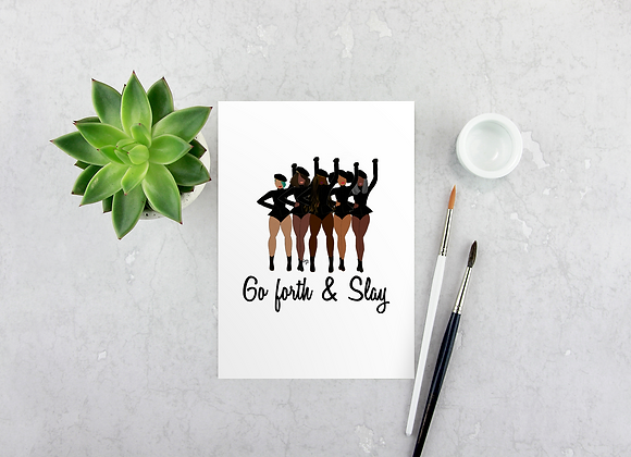 Go forth and slay - Stay woke series | Greetings card