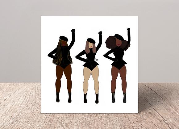 Woke trio | Greetings card