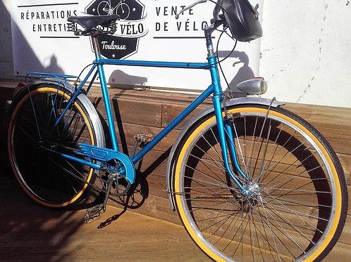 Vélo homme vintage selle cuire + sacoche