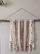 Custom Wall Branch Hanging with found branch, ribbons, yarns, beads and feathers $40