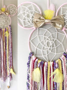 """Custom Mini Mouse Dreamcatcher, 4"""" & 8"""" metal hoops wrapped in yarn, ribbons, yarns, beads and feathers. $45"""