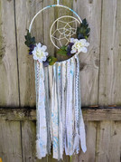 """10"""" metal hoop &4"""" metal hoop wrapped in fabric with faux flowers and fabric ribbons"""