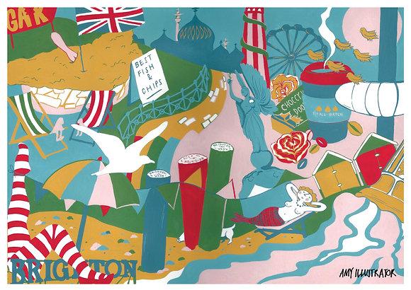 Illustrated Brighton print