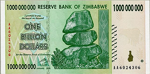 Zimbabwe 1 Billion Dollars (2008) UNC