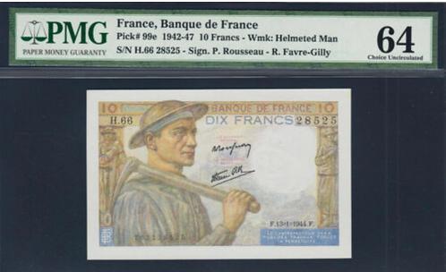 France 10 Francs Date 1944 Ch UNC PMG 64