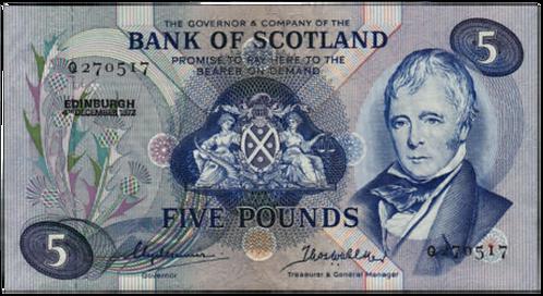 Bank of Scotland 5 POUNDS 1972 PREFIX Q UNC