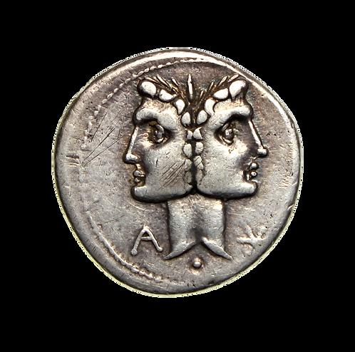 C. Fonteius Silver Denarius 114-113BC Janiform head Rome
