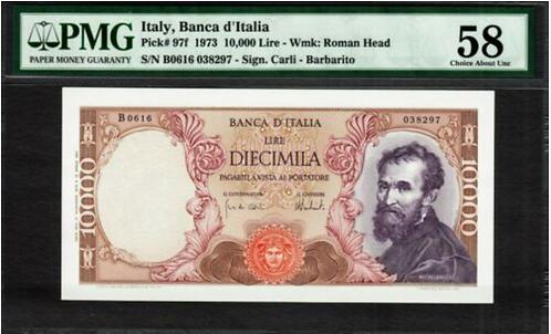 Italy 10,000 Lire 1973 - UNC PMG 58