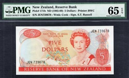 New Zealand 5 Dollars QEII 1985-89 S.T Russell - UNC PMG 65 EPQ