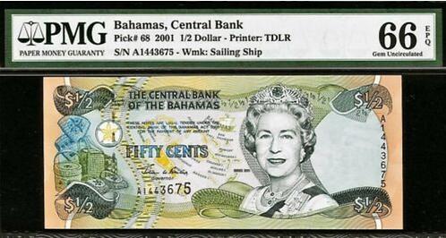 Bahamas 1/2 Dollar 2001 Prefix- A QEII - 68 GEM UNC PMG 66 EPQ