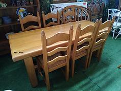 REF. A400 MESA + 6 SILLAS - TABLE + 6 CHAIRS (ROBLE - OAK) 200 x 85 CM. 495€