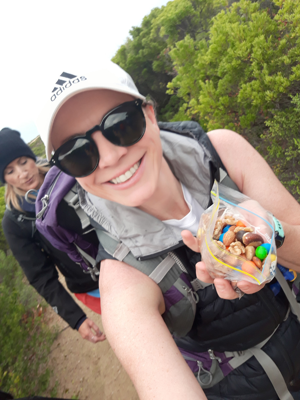 Trail Snacks- almonds, brasil nuts, cashews, walnuts and M&M's - a little sugar to lift the spirit!