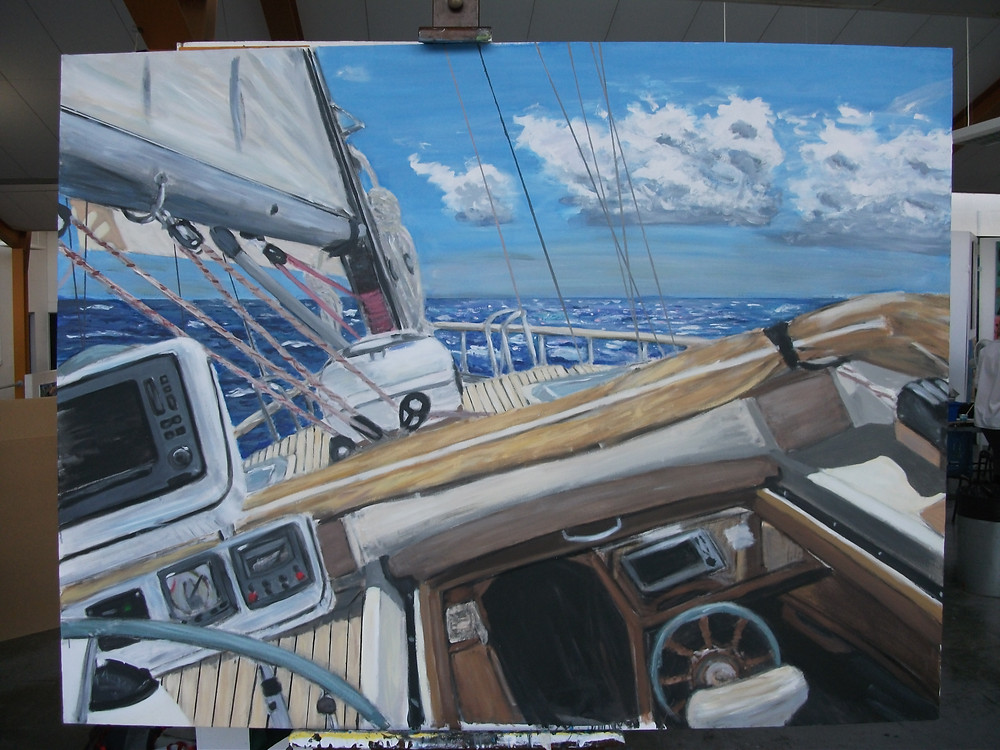 © Julian White - The Salamander Sailing Adventure - Painting - Salamander Sailing In A Force 7 Wind in the Pacific,Salamander,Salamander of Lymington,The Salamander Sailing Adventure,Yacht Charter,Charter,Yacht,Sailing Charter,Sailing,Skippered Yacht Charter,Corporate Yacht Charter,Day Charter,Solent,South Coast,Private Yacht Charter