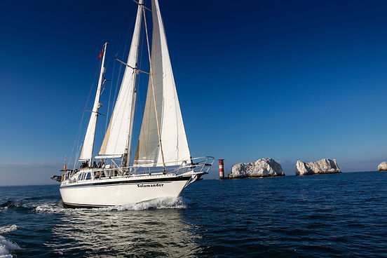 The easiest and best way get to book a table at The Hut and see the Needles on the Isle of Wight is to sail there with The Salamander Sailing Adventure Needles and The Hut Luxury Boat Trip with lunch at The Hut in Colwell Bay Call or Text 07798 524111
