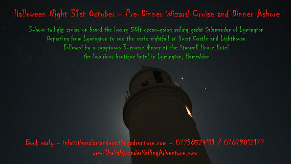 Corporate Yacht Charter - Themed Event - Pre-Dinner Halloween Party Wizard Cruise with Dinner at Stanwell House Hotel on board Salamander of Lymington with The Salamander Sailing Adventure