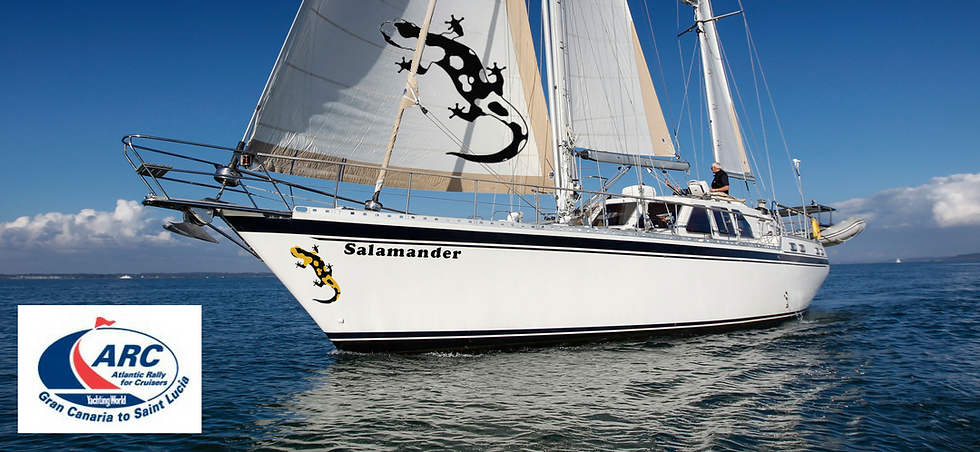 ARC Atlantic crossing with The Salamander Sailing Adventure a well-known ARC participant to experience life on board blue water sailing yacht which has already circumnavigated the world and completed ARC 2017, ARC 2018, ARC 2019, and ARC Europe 2019 Email info@thesalamandersailingadventure.com Call or Text +44 (0)7798 524111