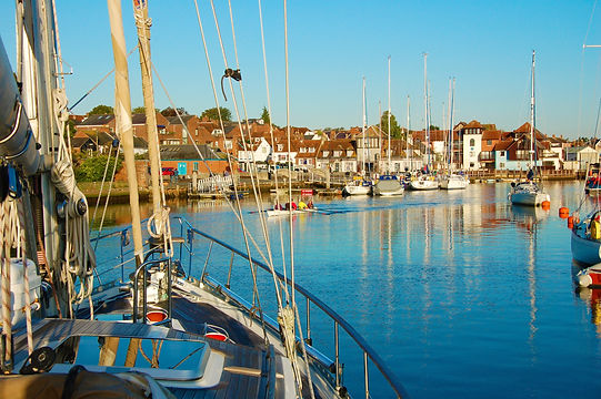 Town Quay Lymington with The Salamander Sailing Adventure Mudeford and Steamer Point Boat Trip with Picnic Lunch specially prepared by multi award-winning chef Andrew Du Bourg of the Michelin recommended Elderflower Restaurant in Lymington Call or Text 07798 524111