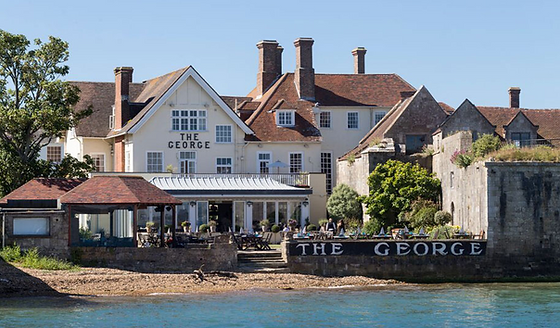 The easiest and best way get to and book a table at The George Hotel in Yarmouth on the Isle of Wight is with The Salamander Sailing Adventure Needles Isle of Wight Luxury Boat Trip Call or Text 07798 524111