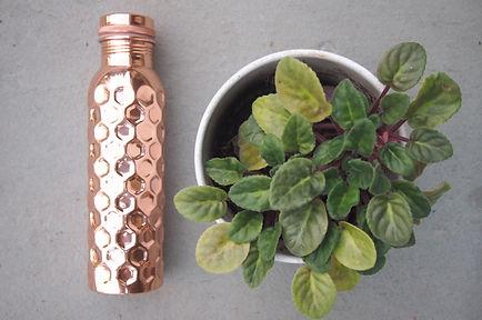 Taamba Shop Copper Water Bottle, diamond-hammered