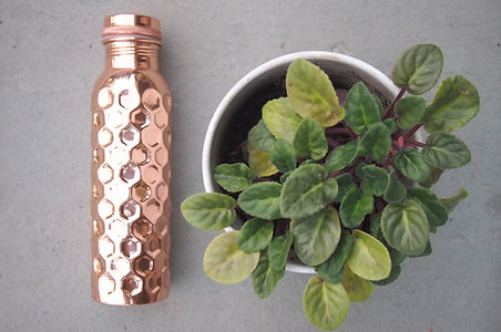 Taamba Shop Copper Water Bottle, diamond-hammered