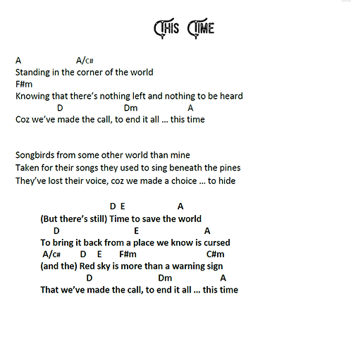 Time to Save the World - Songbook