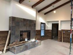 Fireplace w/ Wood siding