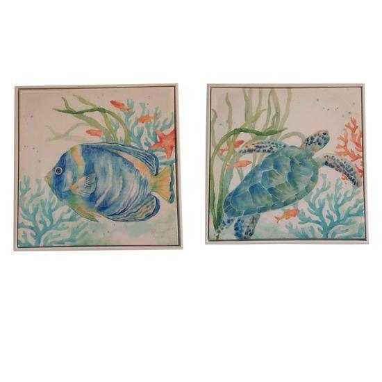 Framed Fish/Turtle Art